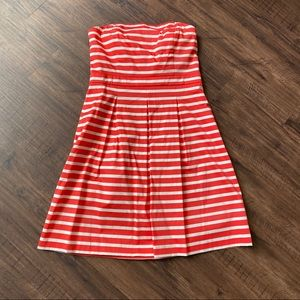 Gap orange/white stripe strapless dress